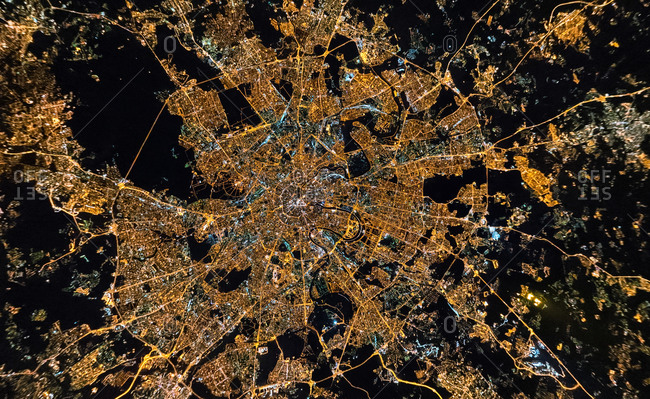 Panoramic aerial view of Moscow from the stratosphere at night, Russia