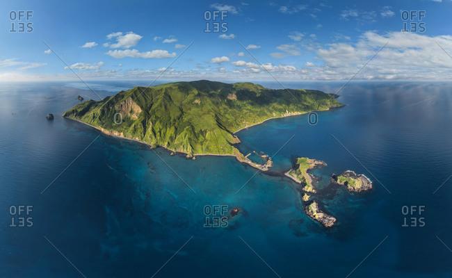 Panoramic aerial view of Rocks of Moneron Island, Sakhalin Island, Russia