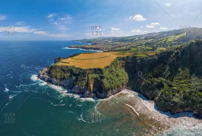 Aerial view of Coast of the Atlantic Ocean, Azores, Sao Miguel Island, Portugal