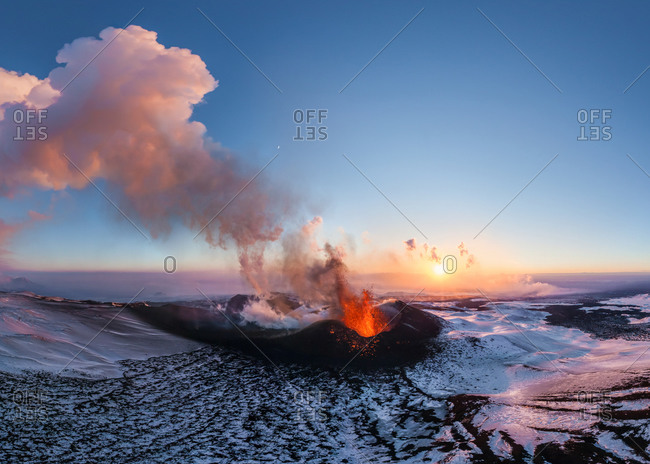 Panoramic aerial view of the volcano Plosky Tolbachik in eruption, Kamchatka, Russia