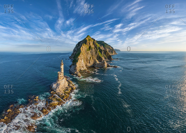 Panoramic aerial view of Lighthouse at Cape Aniva, Sakhalin Island, Russia