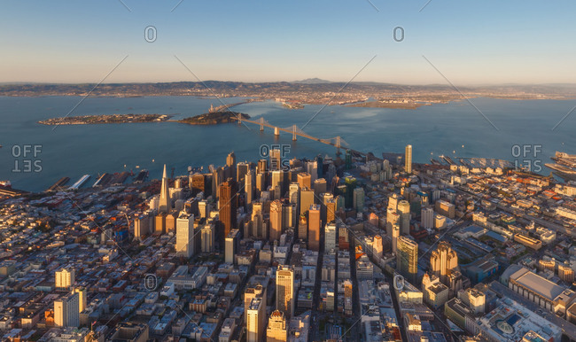 Panoramic aerial view of the city of San Francisco, California, USA