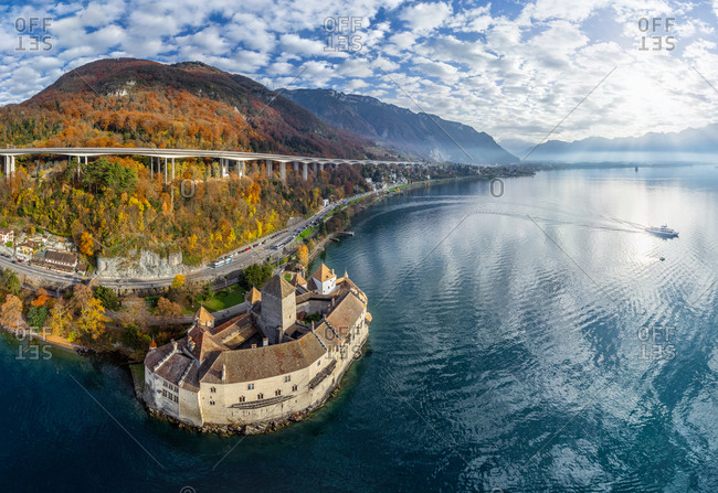November 15, 2015: Aerial view of Chillon Castle, Swiss Riviera, Switzerland
