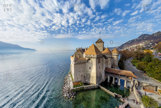 Aerial view of Chillon Castle, Swiss Riviera, Switzerland