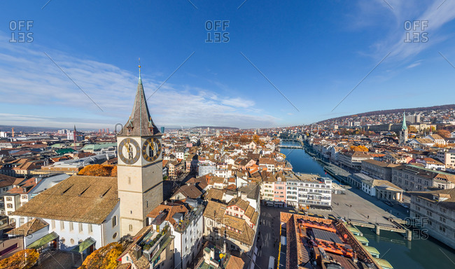 February 20, 2020: Panoramic aerial view of the St. Peter Church, Zurich, Switzerland