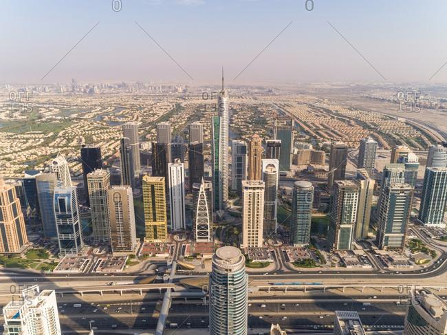 October 8, 2018: Aerial view of buildings in Dubai Marina, Dubai, United Arab Emirates