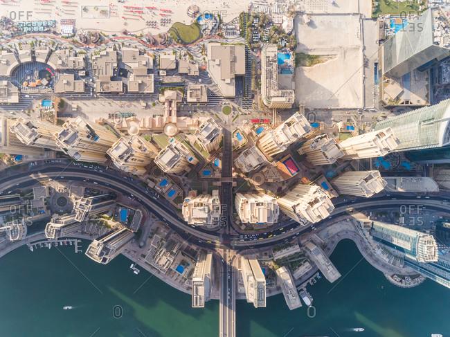 Aerial view of buildings in Dubai Marina, Dubai, United Arab Emirates