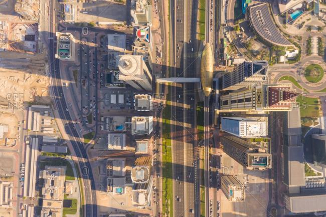 Aerial view of buildings, Trade Center 1, Dubai, United Arab Emirates