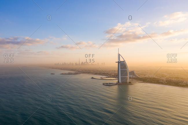 December 12, 2018: Aerial view of the Burj Al Arab hotel, Dubai, United Arab Emirates