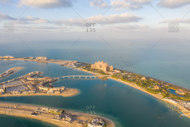 Aerial view of the artificial island The Palm Jumeirah, Dubai, United Arab Emirates