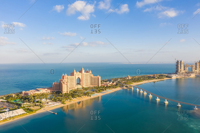 December 12, 2018: Aerial view of the artificial island The Palm Jumeirah, Dubai, United Arab Emirates