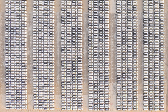 Aerial view of a parking lot with many cars Dubai, United Arab Emirates