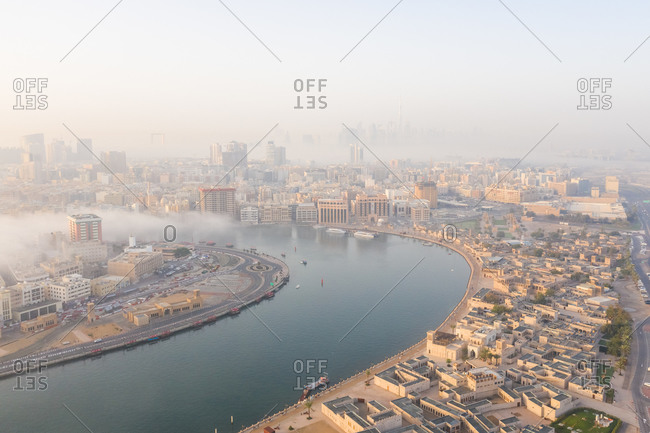 March 29, 2019: Aerial view of a river in Bur Dubai, Dubai, United Arab Emirates