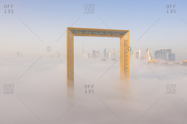 March 29, 2019: Aerial view of a frame surrounded by clouds, Dubai, United Arab Emirates