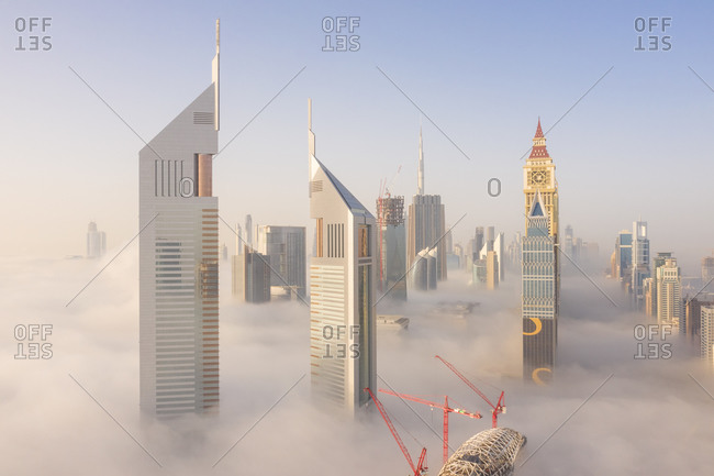 March 29, 2019: Aerial view of buildings surrounded by clouds, Trade Center 2, Dubai, United Arab Emirates