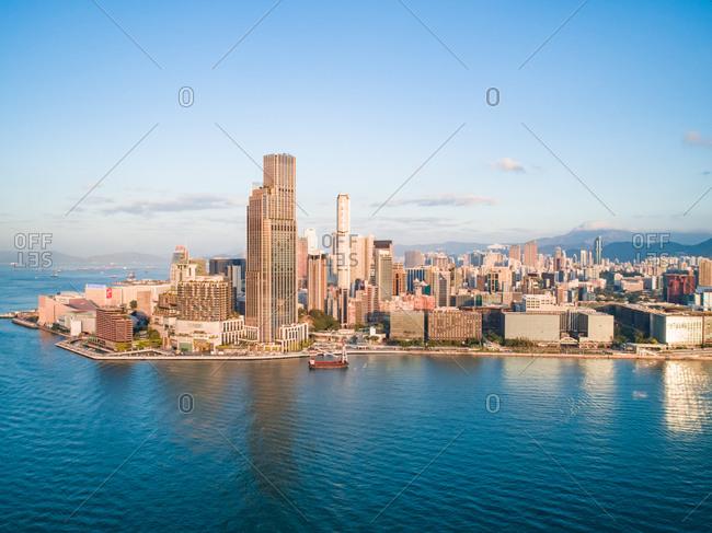 November 23, 2019: Aerial view of buildings on the shore of Causeway Bay, Hong Kong