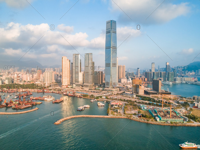 Aerial view of buildings on the shore of Causeway Bay, Hong Kong
