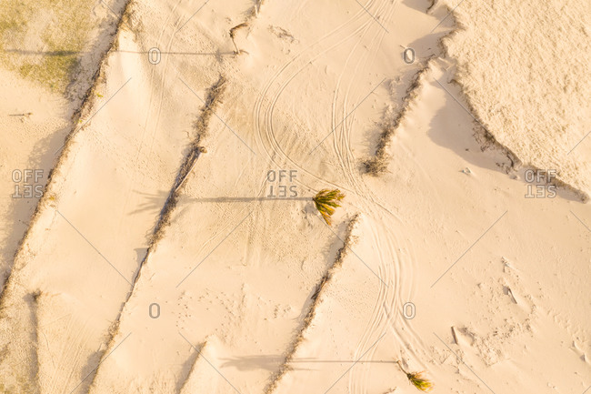 Aerial view of sand on the beach, Taiba, Sao Goncalo do Amarante, Ceara, Brazil