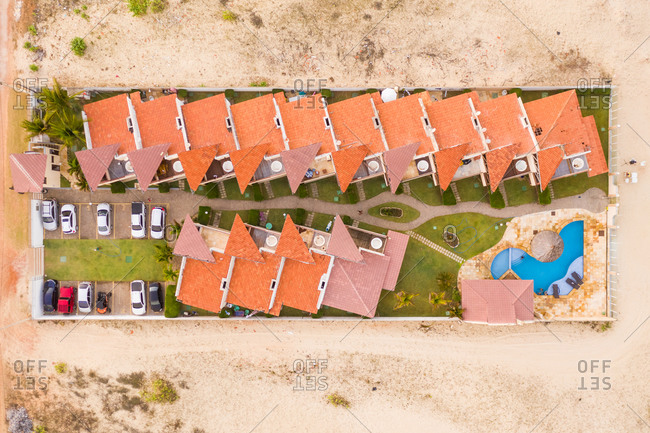 Aerial view of a condominium on the shore of the beach, Taiba, Sao Goncalo do Amarante, Ceara, Brazil