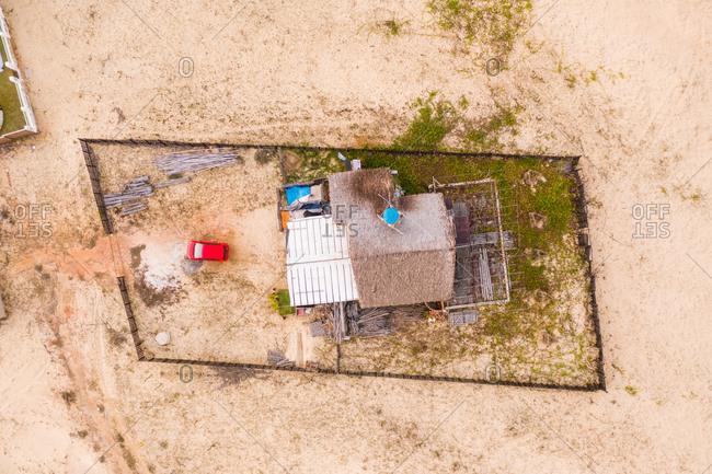 Aerial view of a house on the shore of the beach, Taiba, Sao Goncalo do Amarante, Ceara, Brazil