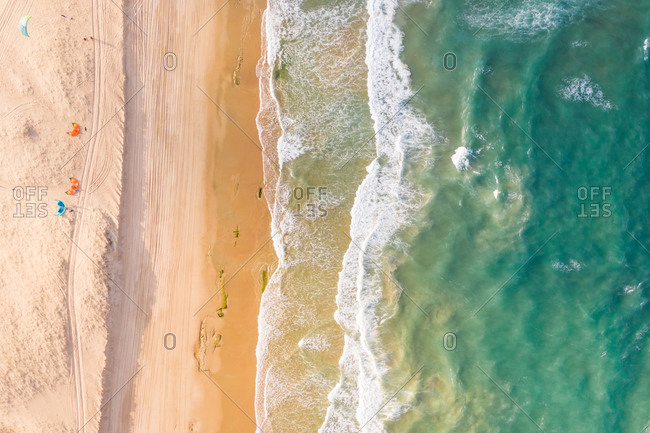 Aerial view of the beach shore, Taiba, Sao Goncalo do Amarante, Ceara, Brazil