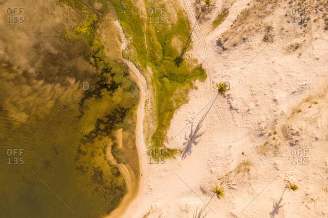 Aerial view of the beach shore, Taiba Kite Lagoon, Ceara, Brazil