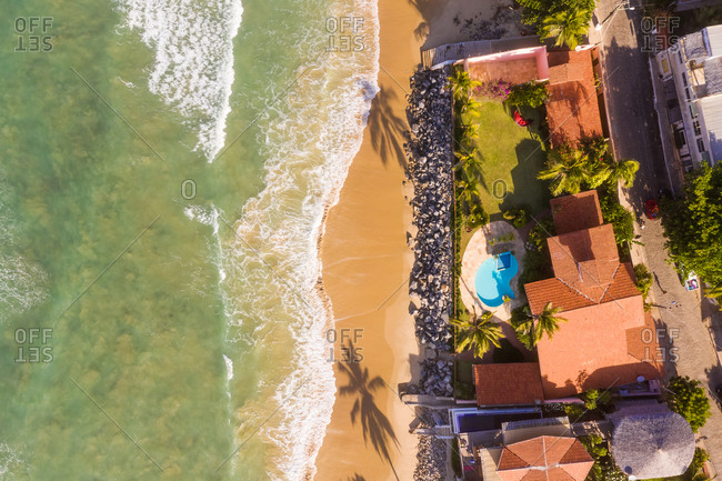 October 19, 2018: Aerial view of houses on the shore of the beach, Taiba, Sao Goncalo do Amarante, Ceara, Brazil