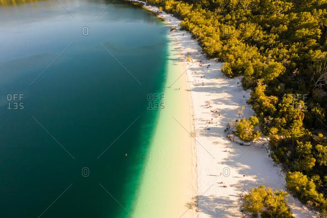 Aerial view of the beach shore, Great Sandy Strait, Queensland, Australia