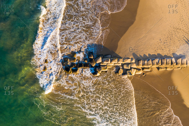 Aerial view of stones on the shore of the beach, Sunshine Coast, Queensland, Australia