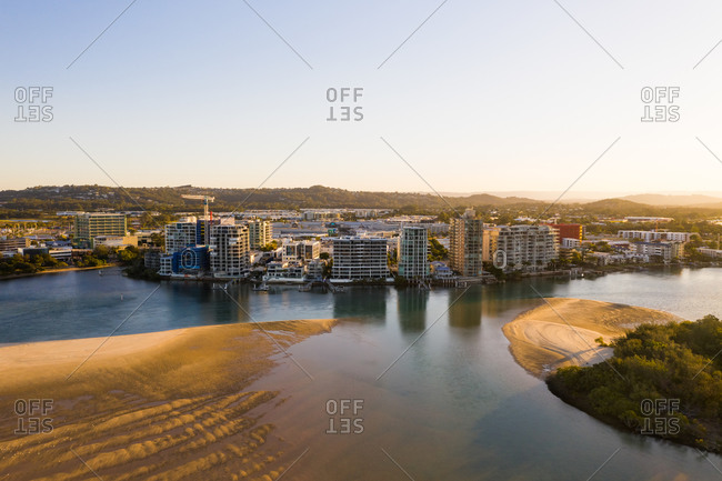 August 22, 2019: Aerial view of buildings on the shore of the coast, Sunshine Coast, Queensland, Australia