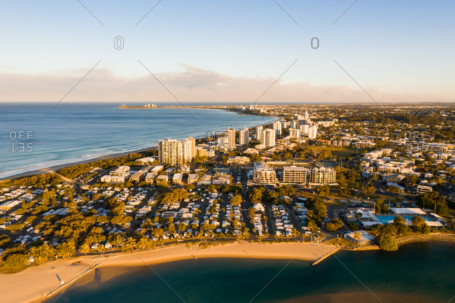 Aerial view of buildings on the shore of the coast, Sunshine Coast, Queensland, Australia