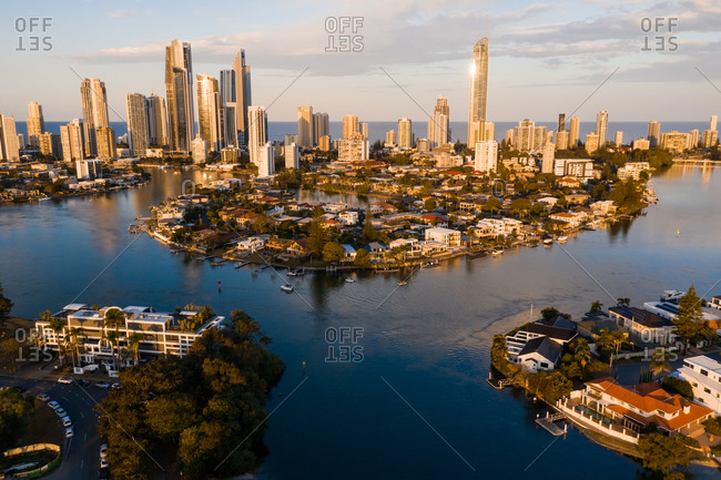 August 27, 2019: Aerial view of the city with a river, Surfers Paradise, Queensland, Australia