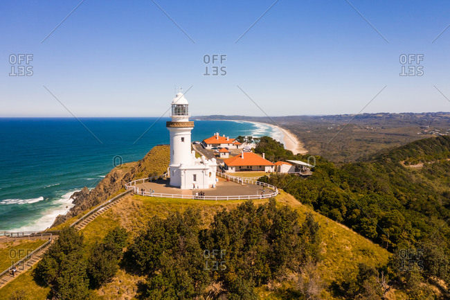 Aerial view of a lighthouse on the shore of the bay, Byron Bay, New South Wales, Australia