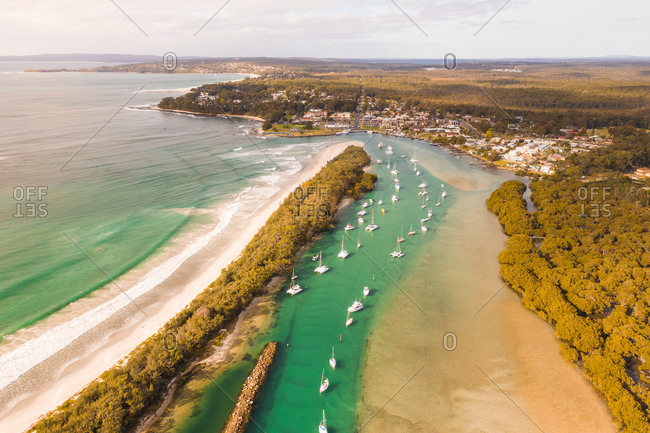 Aerial view of boats in the bay, Huskisson, New South Wales, Australia
