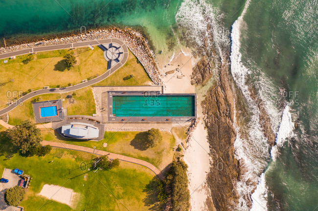 Aerial view of the shore of the bay, Huskisson, New South Wales, Australia