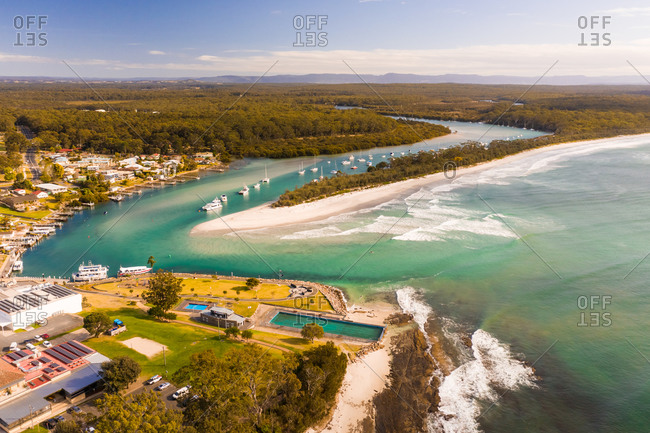 September 10, 2019: Aerial view of boats in the bay, Huskisson, New South Wales, Australia