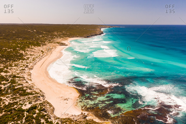 Aerial view of the shore of the bay, Karatta, South Australia, Australia