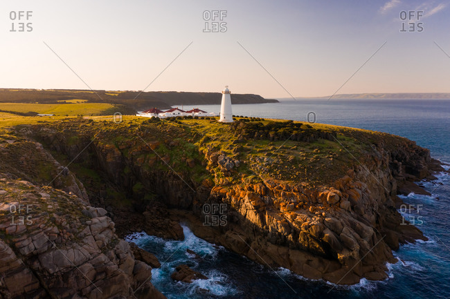 Aerial view of a lighthouse on the shore of the coast, Willoughby, South Australia, Australia