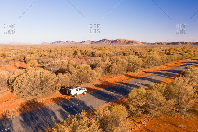 Aerial view of a car on a road with vegetation, Standley Chasm, Hugh, Australia