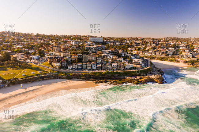 Aerial view of the shore of the bay, Bronte, New South Wales, Australia