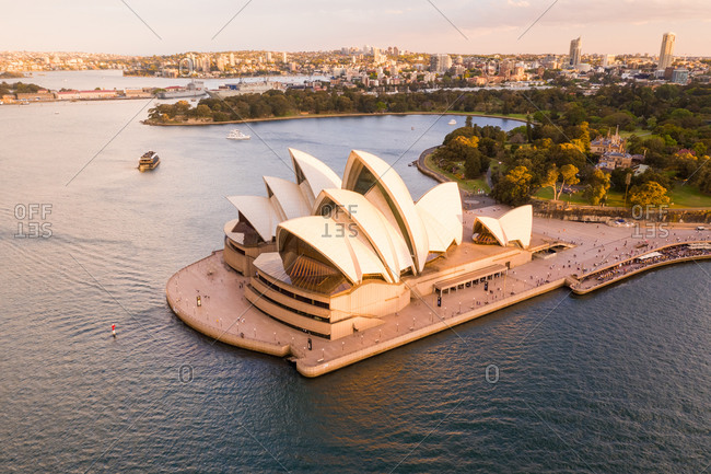 October 19, 2019: Aerial view of the Sydney Opera House, Sydney, New South Wales, Australia