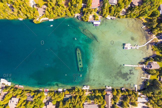 Aerial view of a boat underwater in The Great Lakes, Tobermory, Ontario, Canada