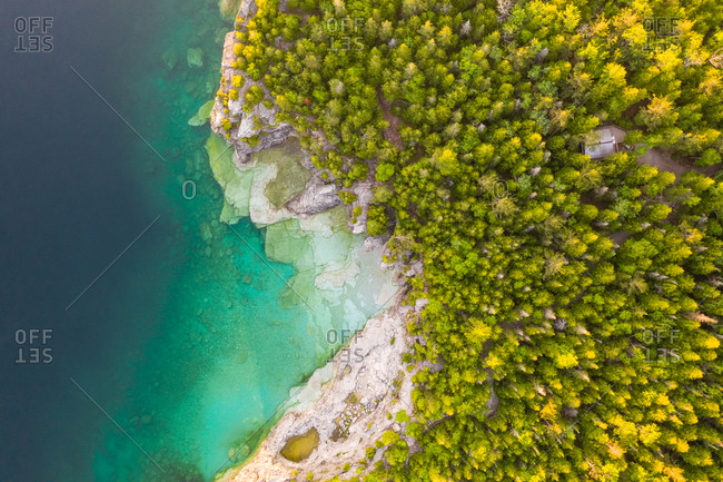 Aerial view of the lake shore at The Great Lakes, Tobermory, Ontario, Canada