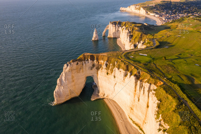 Aerial view of Chemin Des Douaniers, Etretat, France