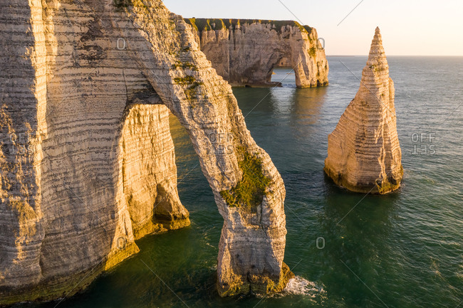 Aerial view of Falaise d'Aval, Etretat, France