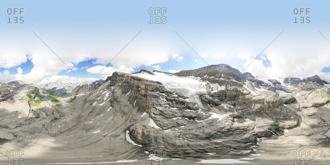 Panoramic aerial view of mountains with snow Leukerbad, Switzerland