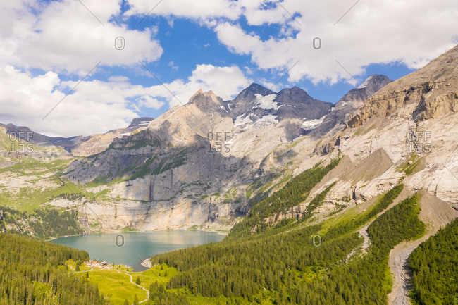Aerial view of a lake surrounded by mountains, Kandersteg, Switzerland