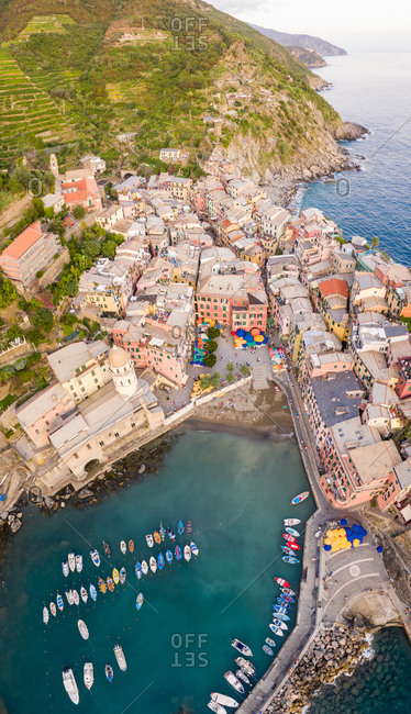Aerial view of the shore of the coast, Vernazza, Province of La Spezia, Italy