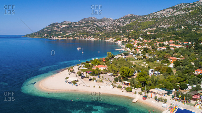 September 6, 2018: Aerial view of famous beach in Viganj on Peljesac island in Croatia.