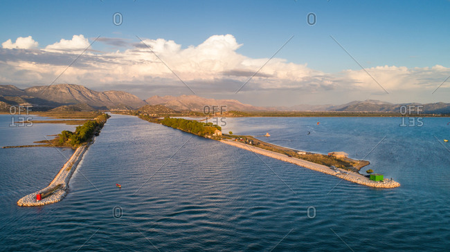 Aerial view of Neretva river mouth and a popular kitesurfing spot in Dalmatia, Croatia.